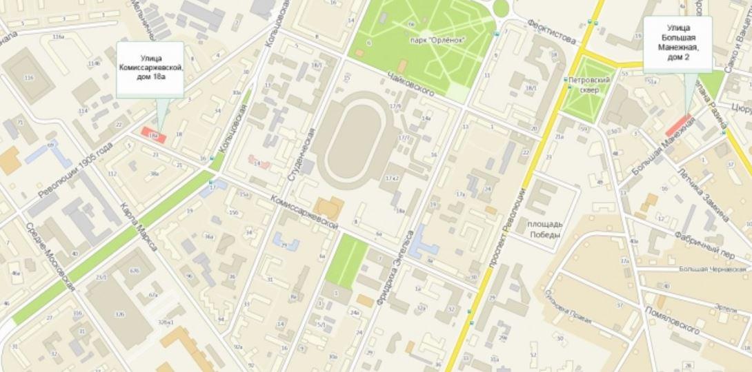Схема проезда до Центрального суда города Воронежа на карте