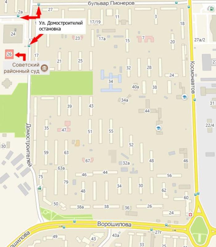 Схема проезда к зданию Советского районного суда Воронежа